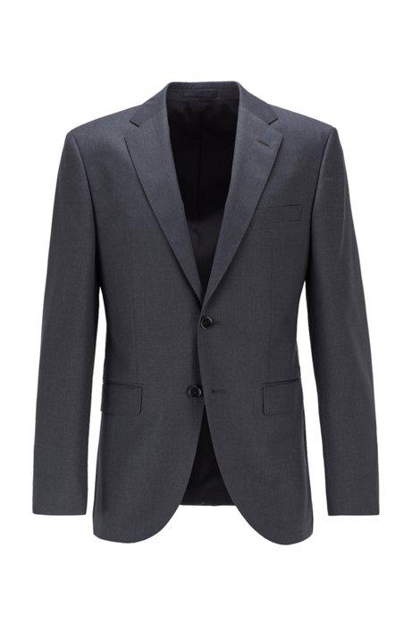 Giacca regular fit in serge di lana vergine con cuciture AMF, Grigio scuro