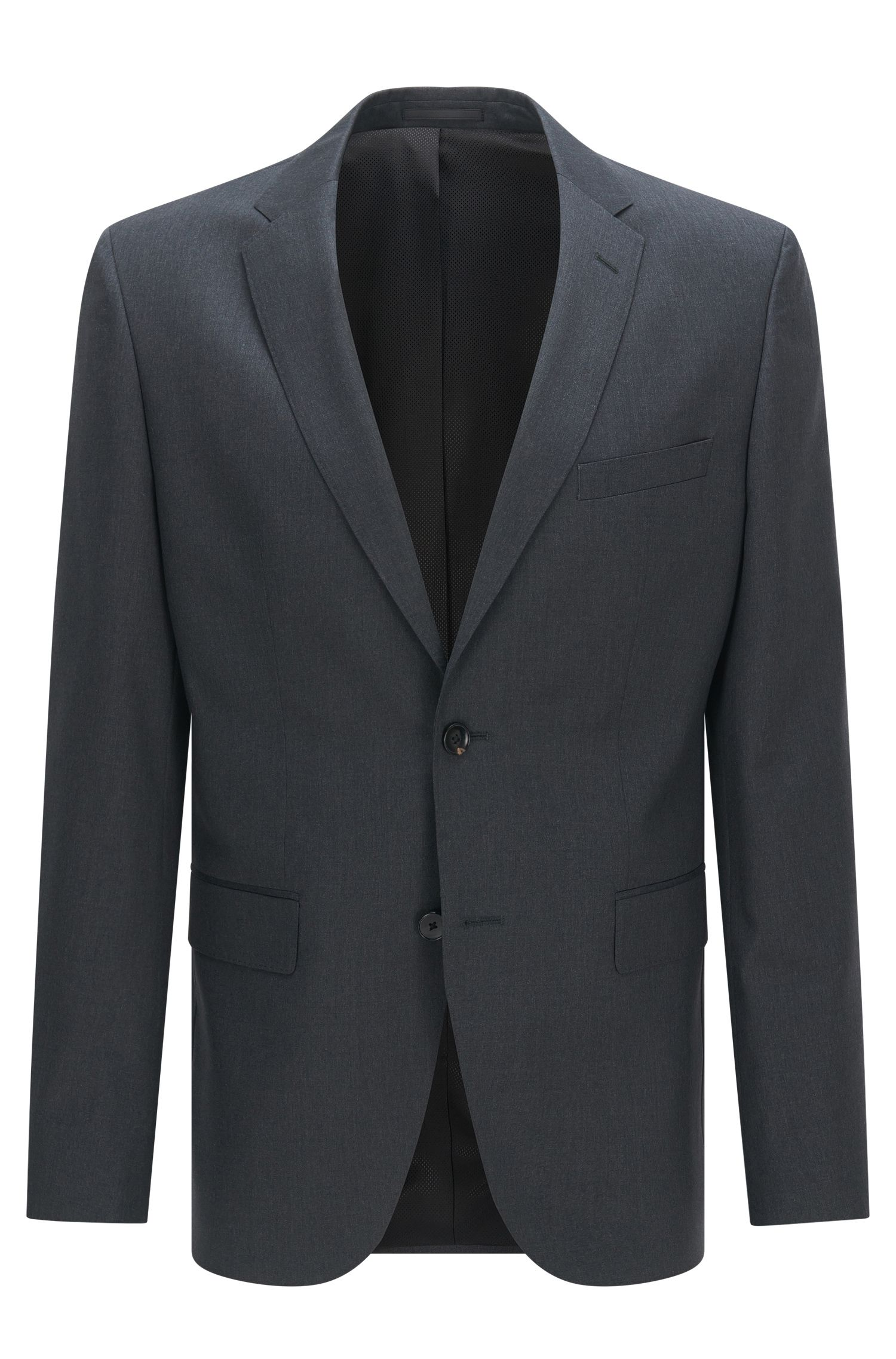 Regular-fit virgin wool jacket with AMF stitching