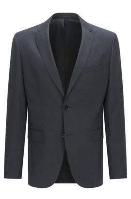 Regular-fit virgin wool jacket with AMF stitching, Dark Grey