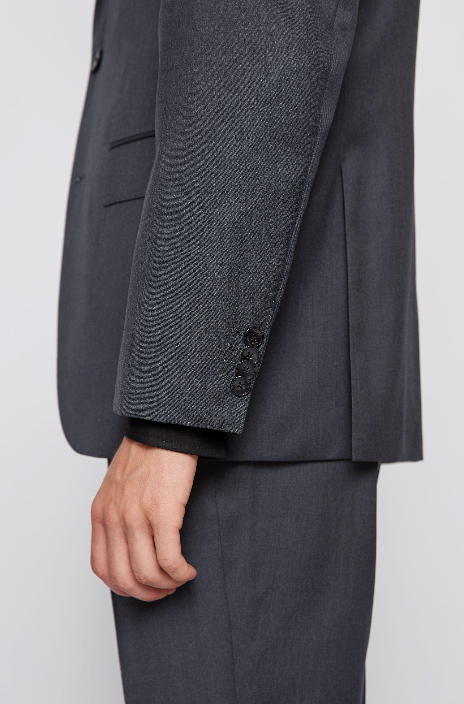 Regular-Fit Sakko aus Schurwolle mit Handkanten, Dunkelgrau