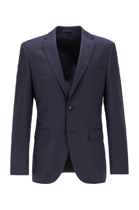 Giacca regular fit in serge di lana vergine con cuciture AMF, Blu scuro