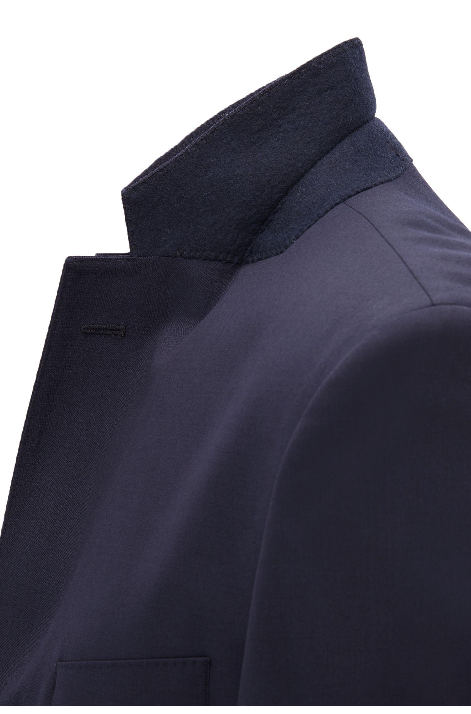 Regular-fit colbert van scheerwol met AMF-sierstiksels, Donkerblauw