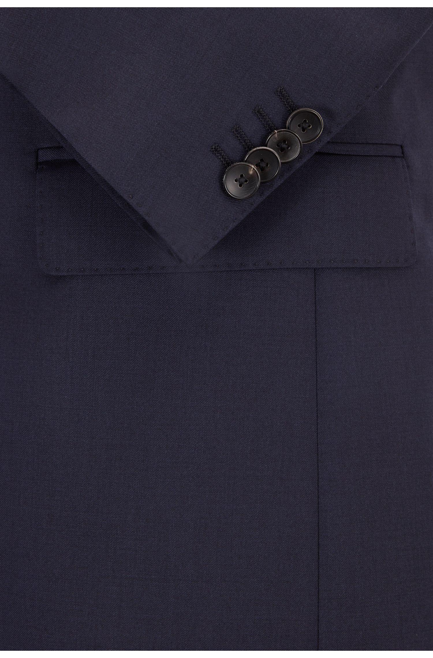 Regular-Fit Sakko aus Schurwolle mit Handkanten, Dunkelblau