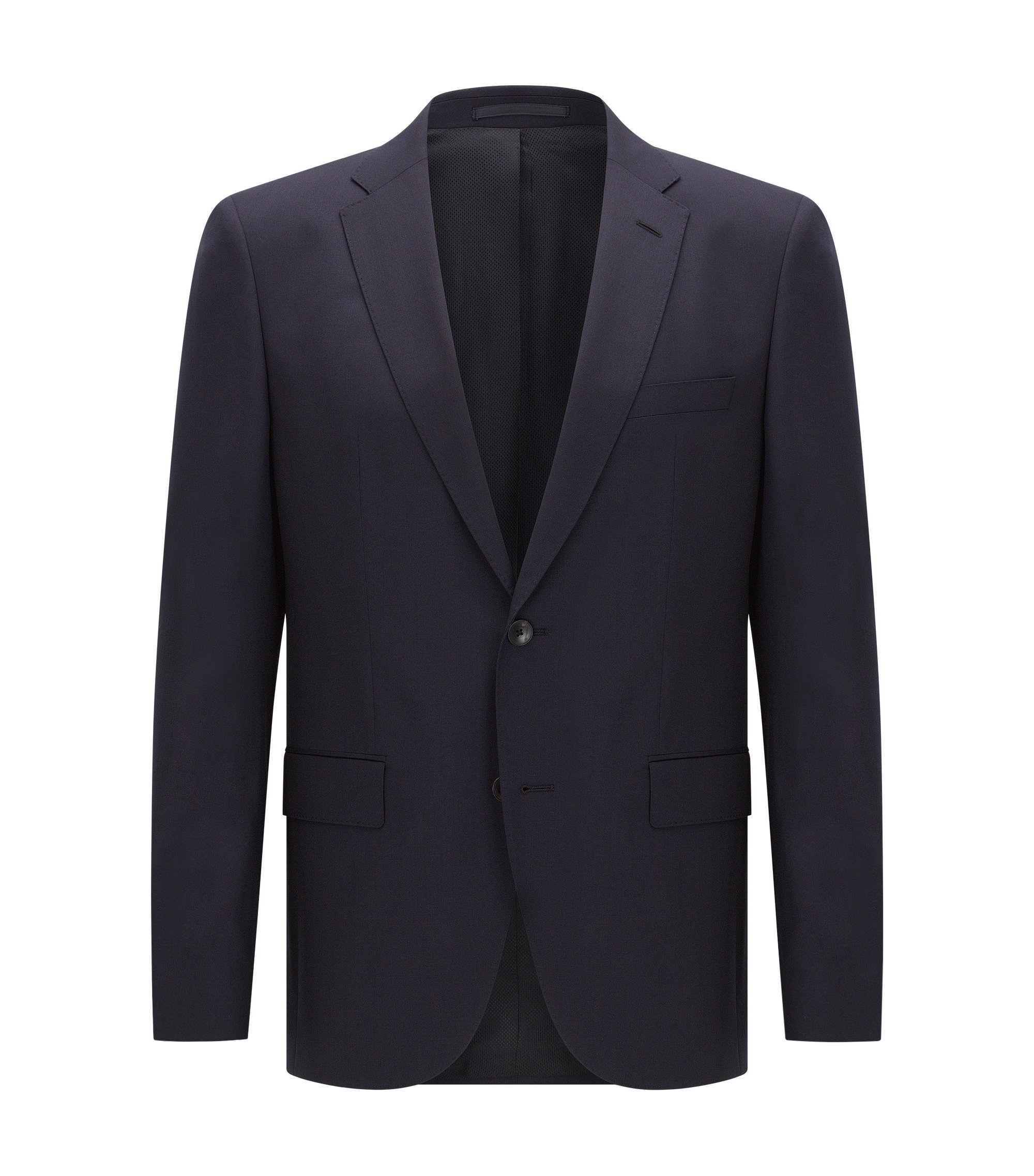 Regular-fit virgin wool jacket with AMF stitching, Dark Blue