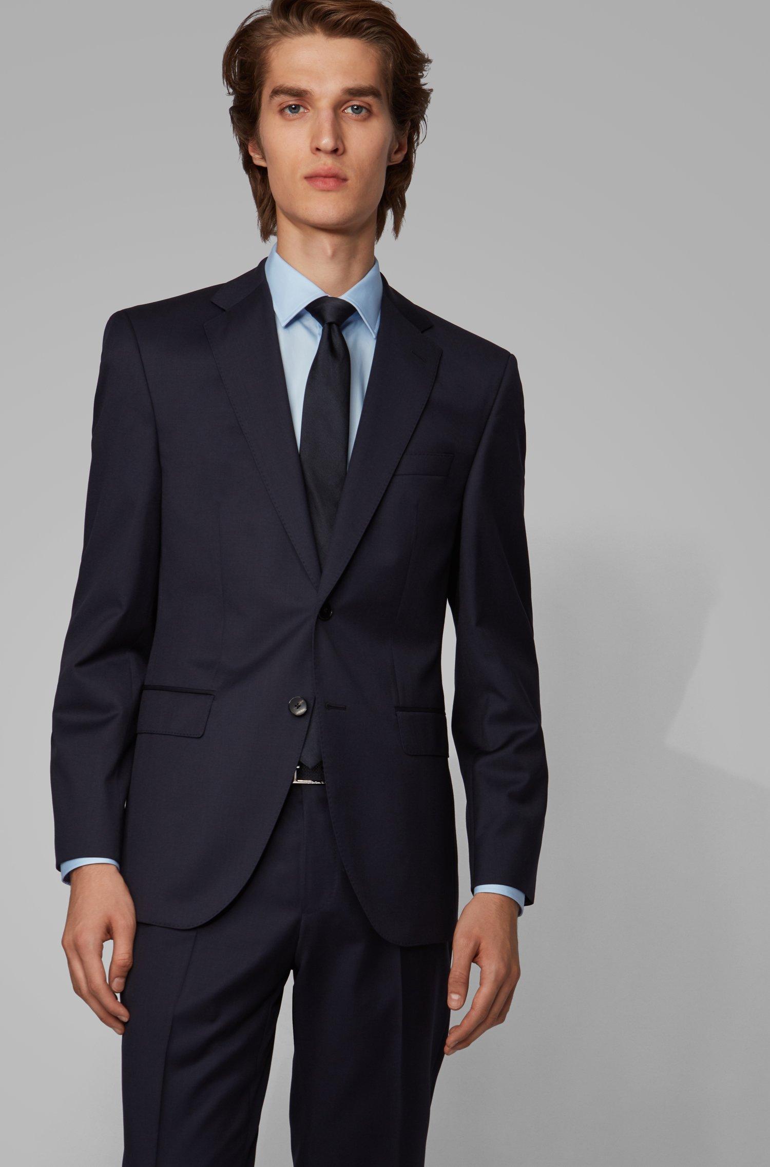 Regular-fit jacket in virgin-wool serge with AMF stitching, Dark Blue