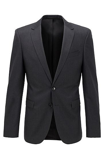 男士超修身版新羊毛珠边线西服外套,  021_暗灰色