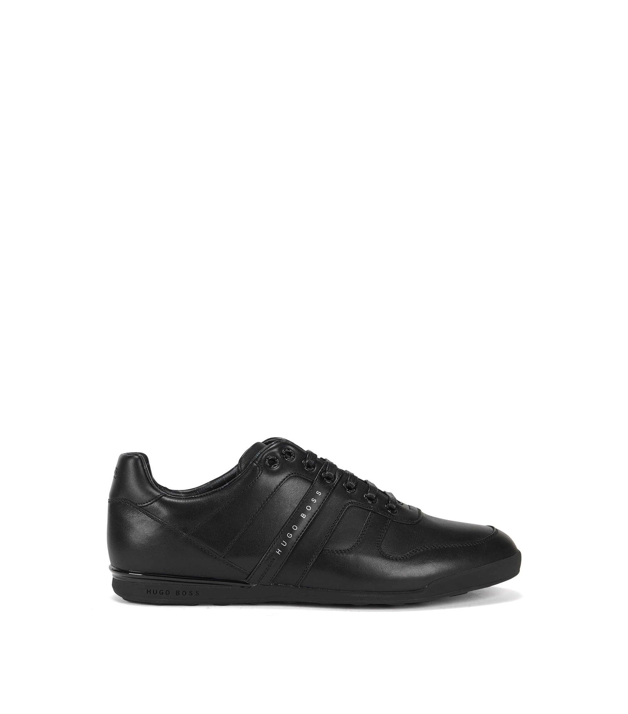 Low-profile trainers in smooth leather, Black