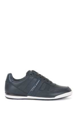 Low-profile trainers in smooth leather, Dark Blue