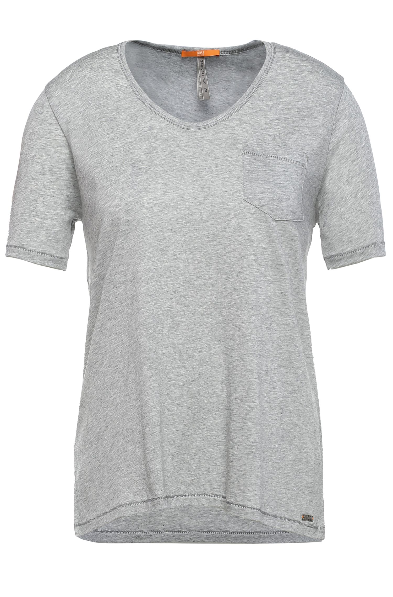 Regular-fit T-shirt van een materiaalmix met katoen: 'Tafavorite'