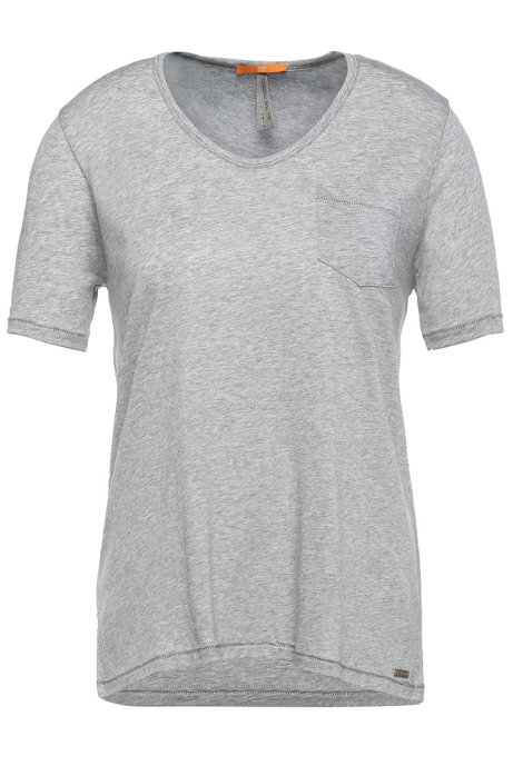Regular-fit t-shirt in fabric blend with cotton: 'Tafavorite', Grey
