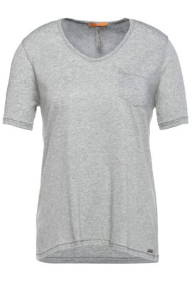 Regular-Fit T-Shirt aus Material-Mix mit Baumwolle: ´Tafavorite`, Grau
