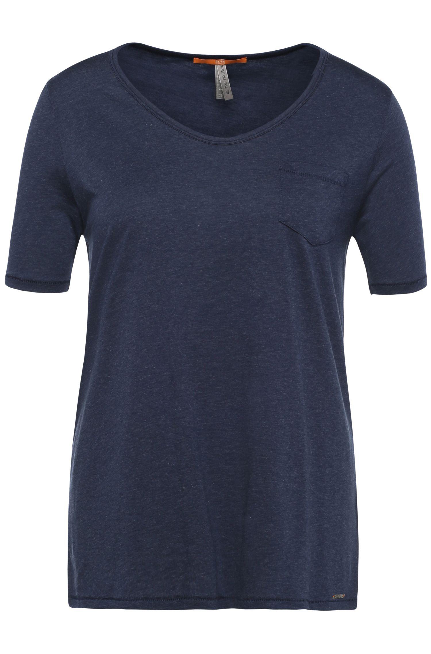 Regular-fit t-shirt in fabric blend with cotton: 'Tafavorite', Dark Blue