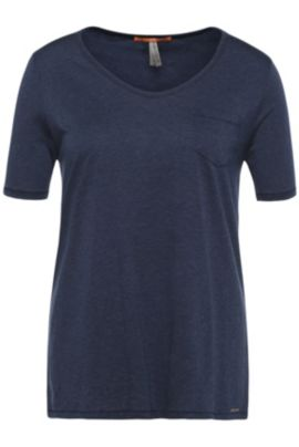 Regular-fit t-shirt in fabric blend with cotton: 'Tafavorite', Dark Blue