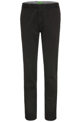 Pantalon Regular Fit en coton extensible: «C-Crigan2-4-D», Noir