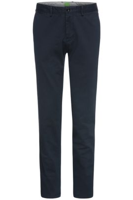 Pantaloni regular fit in cotone elasticizzato: 'C-Crigan2-4-D', Blu scuro