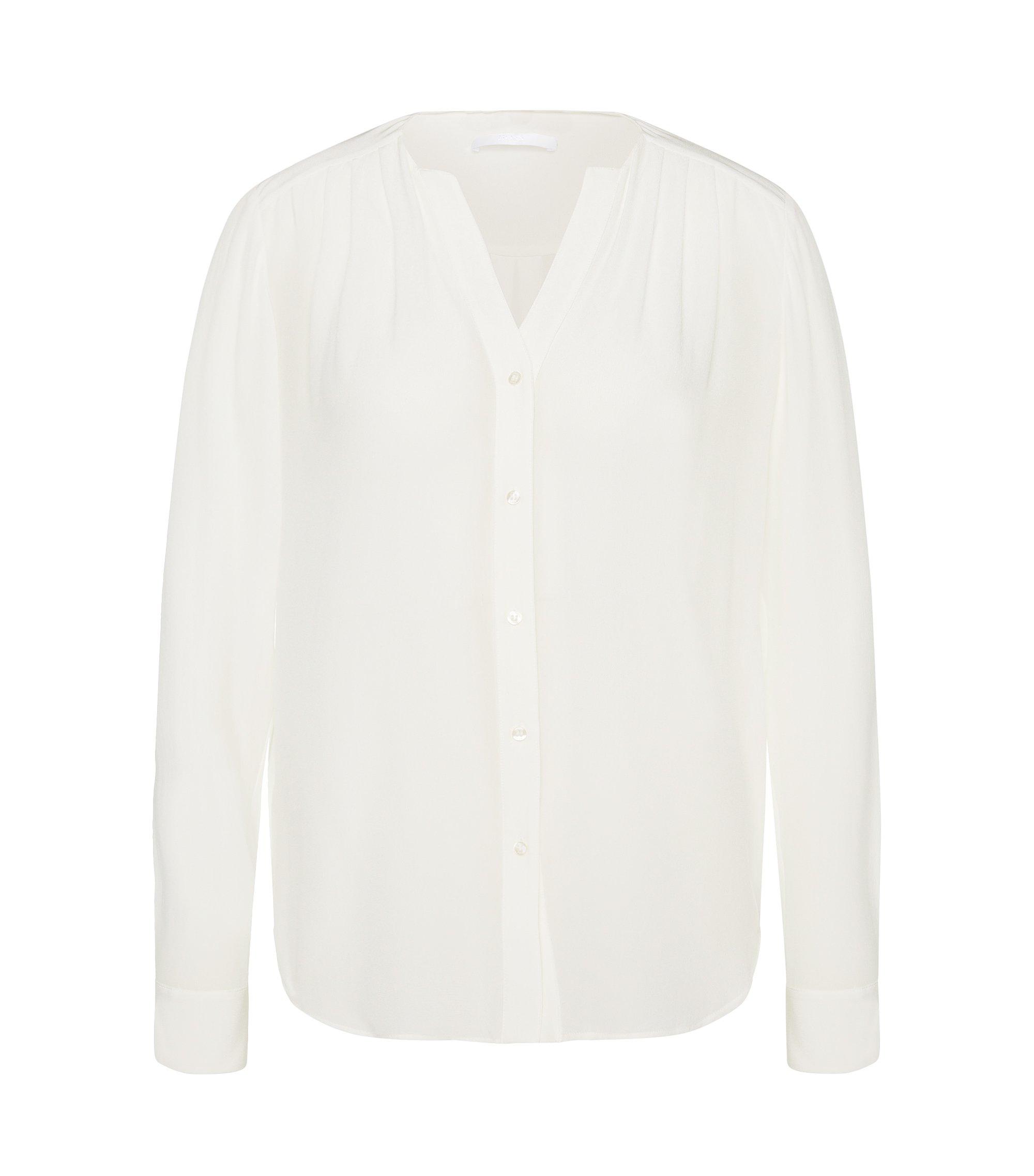 Blusa de seda con fruncidos discretos: 'Rosaline1', Natural