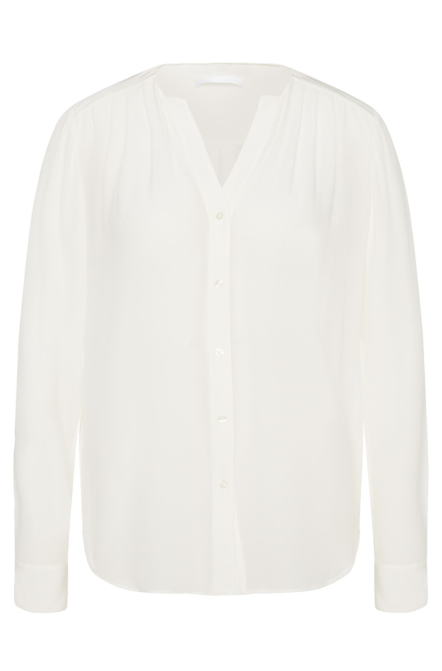 Silk blouse with subtle gathering: 'Rosaline1'
