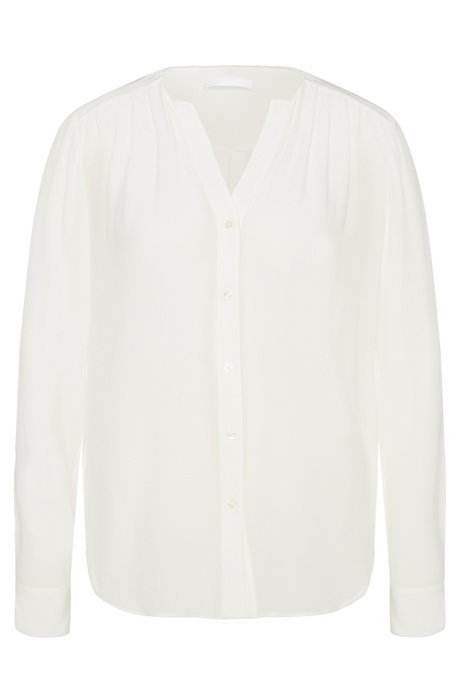 Silk blouse with subtle gathering: 'Rosaline1', Natural
