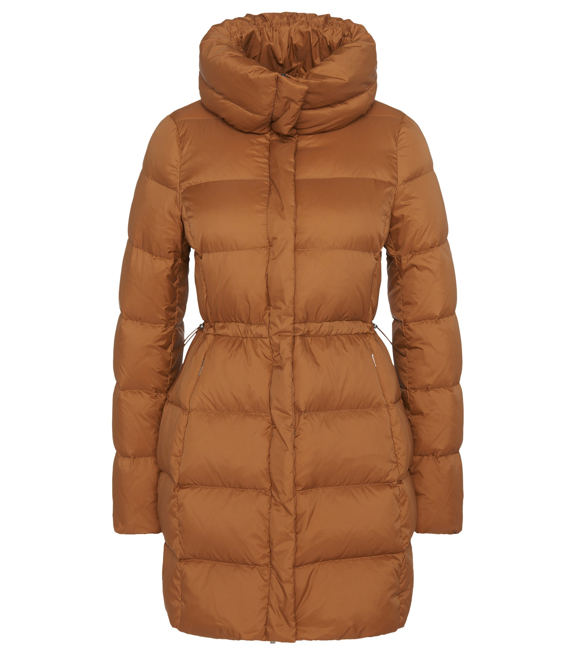Water-repellent down coat with drawstring: 'Purena', Brown