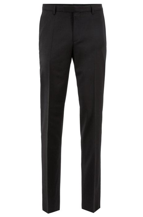 Pantalon business à jambes droites, en laine vierge, Noir