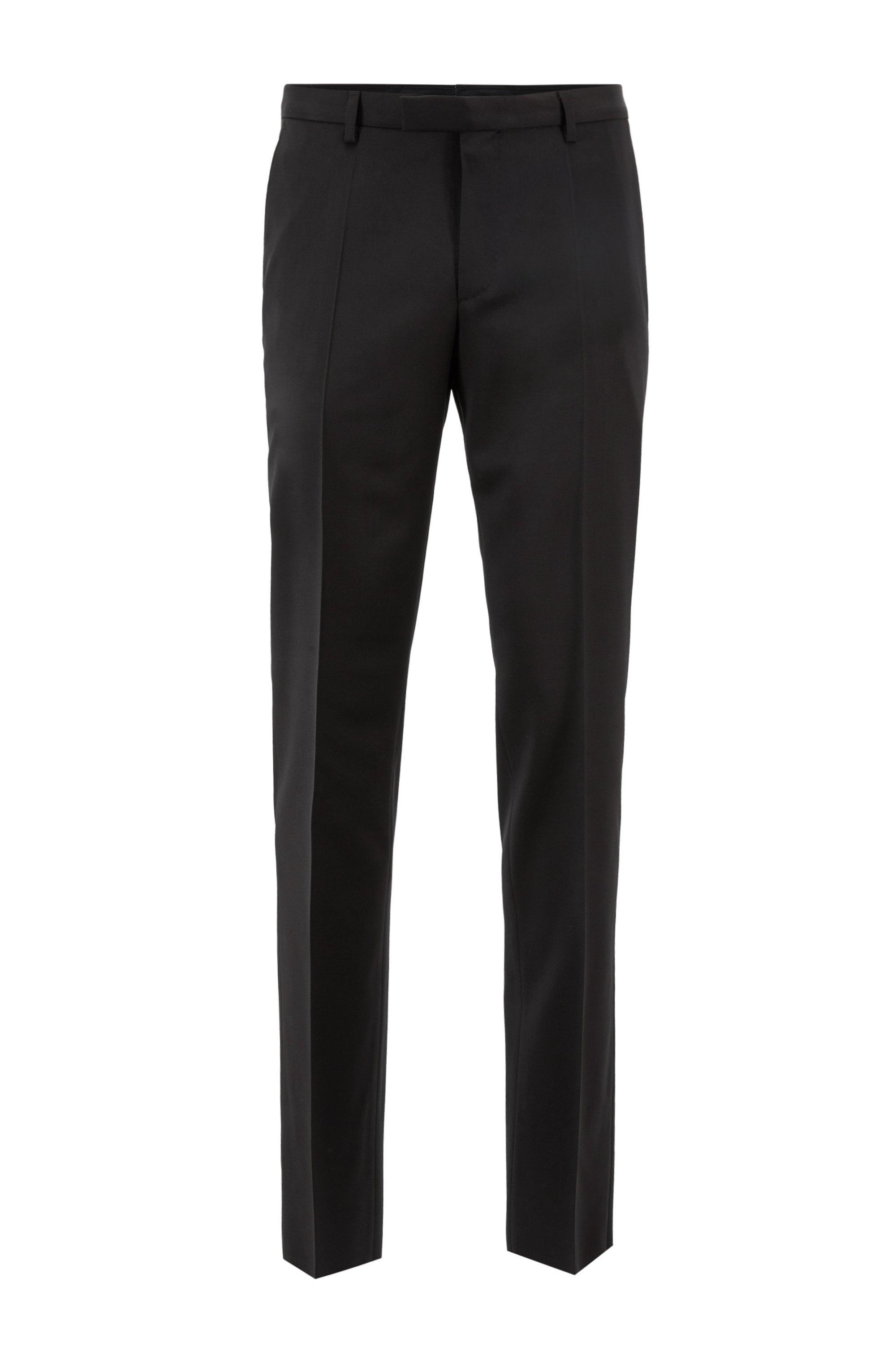 Pantalon Regular Fit en sergé de laine vierge, Noir