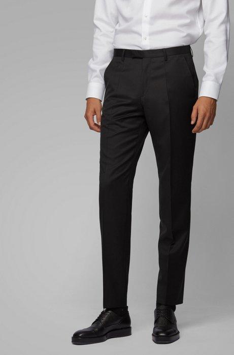 Regular-fit broek in een serge van scheerwol, Zwart