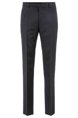 Pantalon business à jambes droites, en laine vierge, Gris sombre