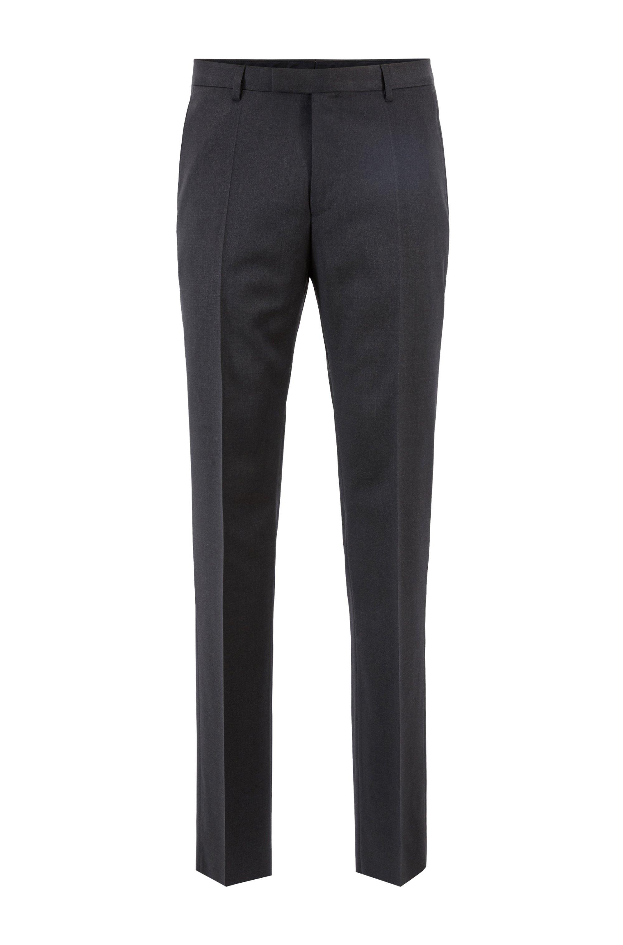 Pantalon Regular Fit en sergé de laine vierge, Gris sombre