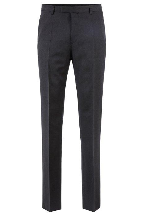 Straight-leg business trousers in virgin wool, Dark Grey