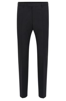 Straight-leg business trousers in virgin wool, Dark Grey