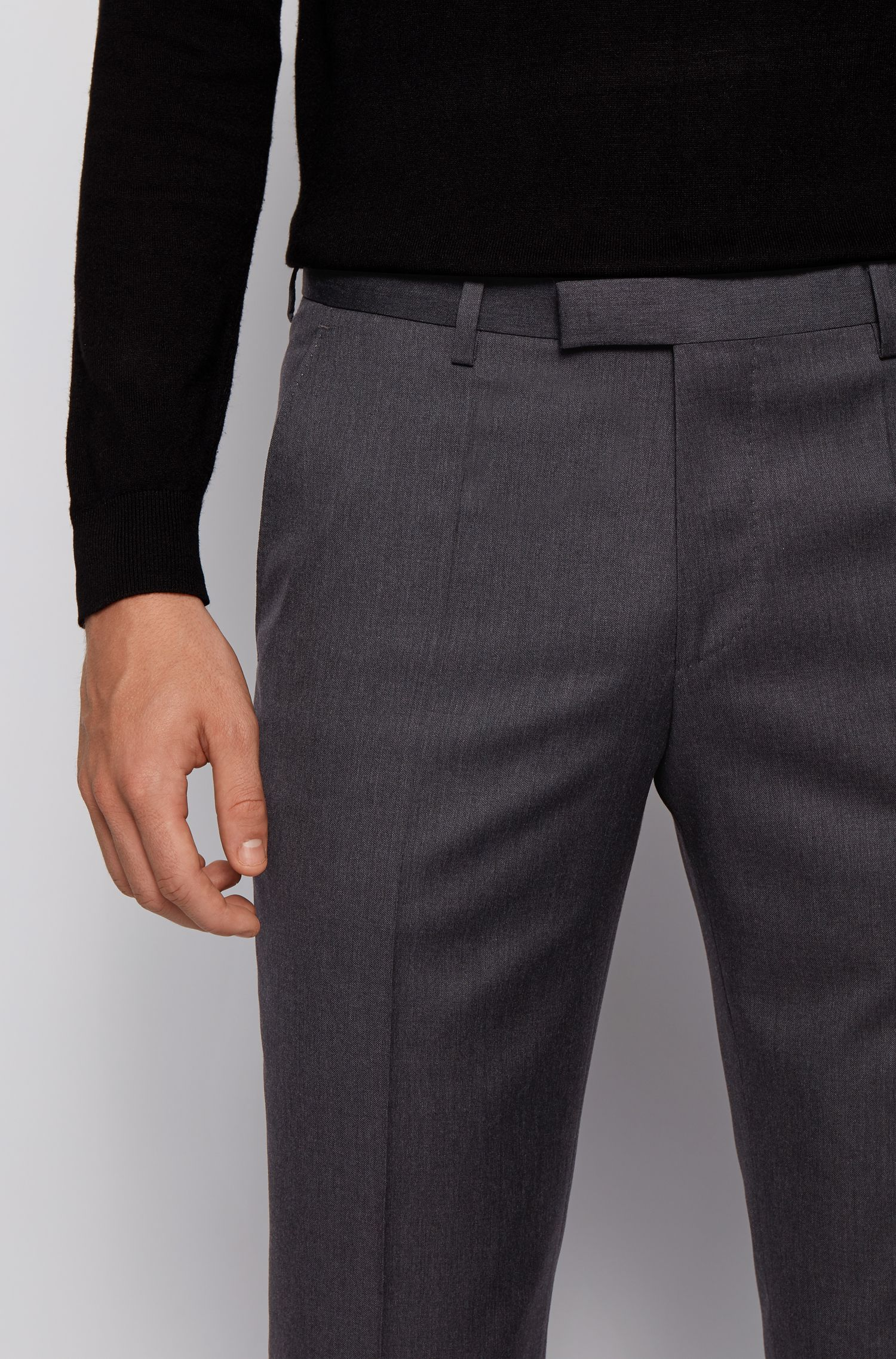 Pantaloni business a gamba dritta in lana vergine, Grigio scuro