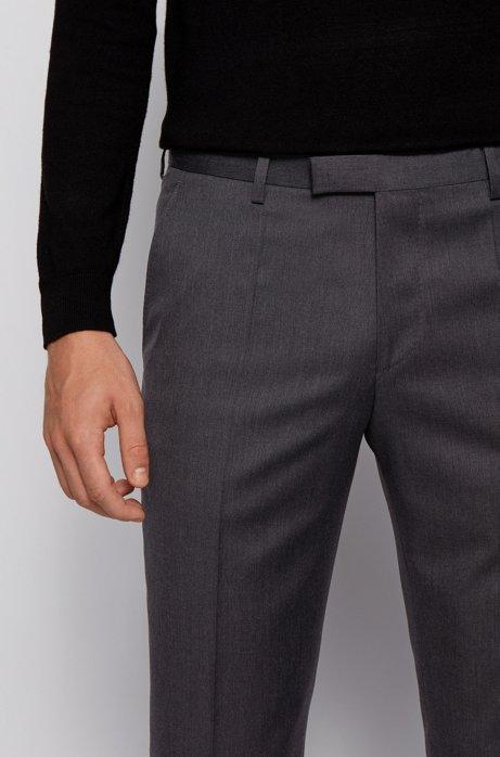 Regular-fit trousers in virgin-wool serge, Dark Grey