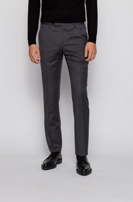 Regular-fit trousers in virgin-wool serge, Dark Grey