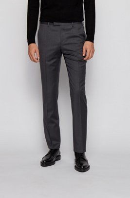 Pantaloni regular fit in serge di lana vergine, Grigio scuro