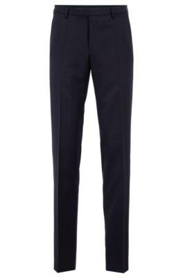 Pantalon business à jambes droites, en laine vierge, Bleu foncé
