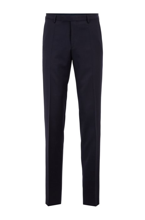 Regular-fit trousers in virgin-wool serge, Dark Blue