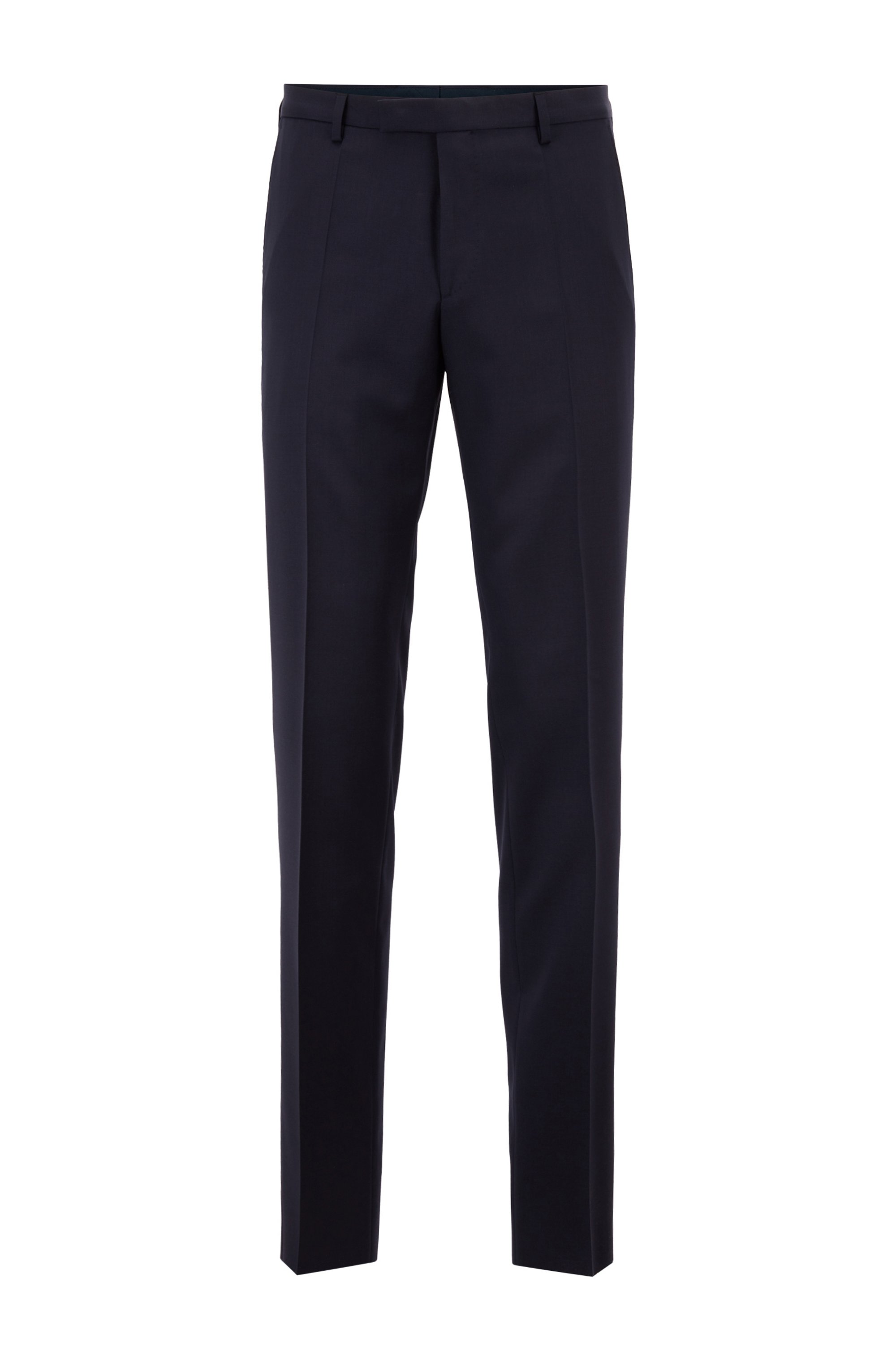 Regular-fit trousers in virgin-wool serge, Dark Blue
