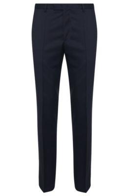 Zakelijke broek van scheerwol met rechte pijpen, Donkerblauw