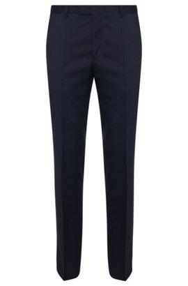 Straight-leg business trousers in virgin wool, Dark Blue