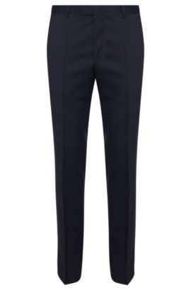 Pantaloni business a gamba dritta in lana vergine, Blu scuro