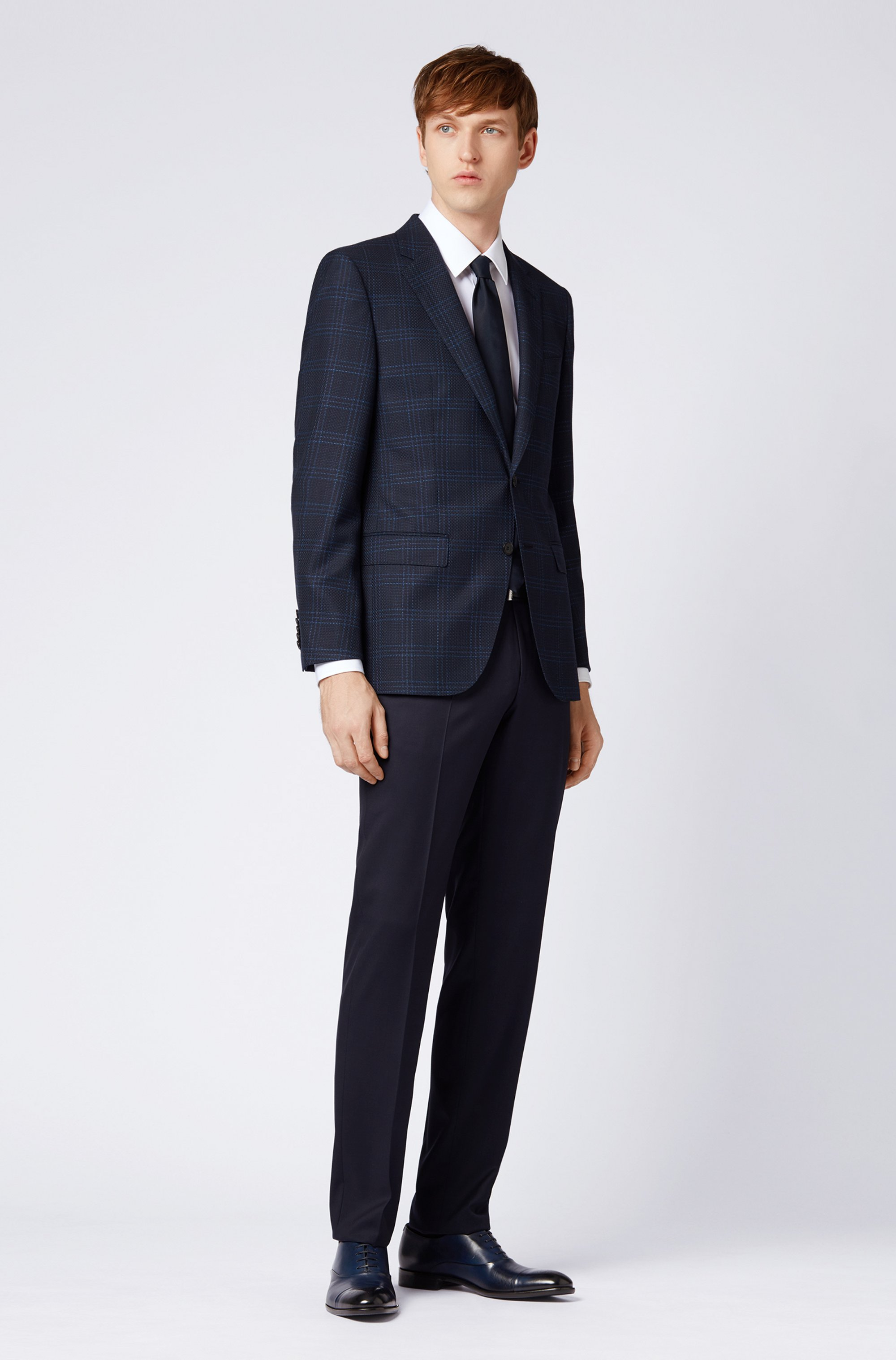 Regular-fit trousers in virgin-wool serge