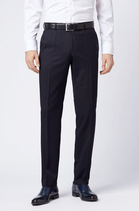 Pantaloni regular fit in serge di lana vergine, Blu scuro