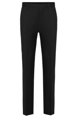 Plain slim-fit Tailored trousers in pure new wool: 'T-Glover1', Black