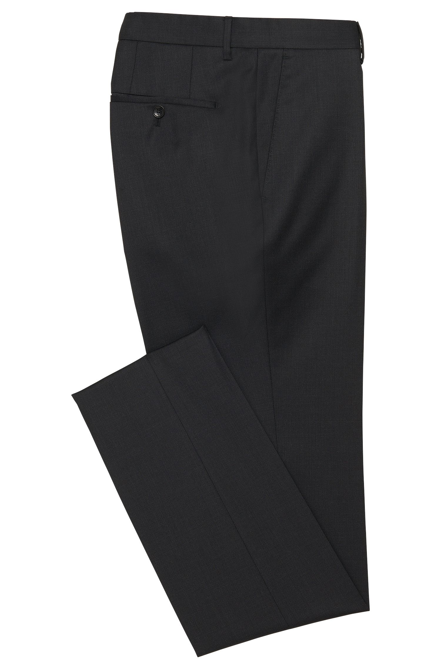 Pantalon Slim Fit Tailored uni en pure laine vierge : « T-Glover1 »