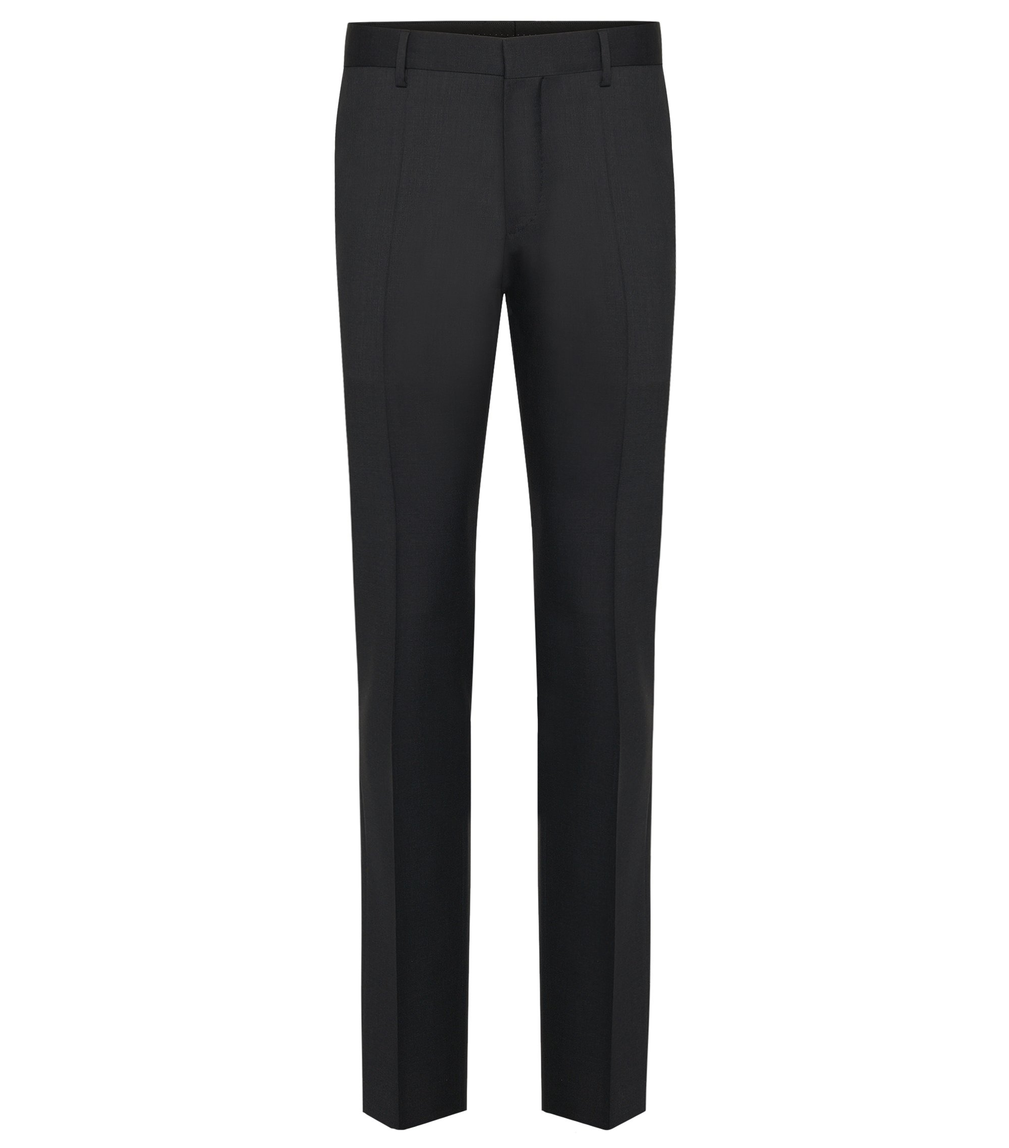 Pantalon Slim Fit Tailored uni en pure laine vierge : « T-Glover1 », Anthracite