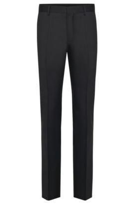 Unifarbene Slim-Fit Tailored Hose aus reiner Schurwolle: 'T-Glover1', Anthrazit
