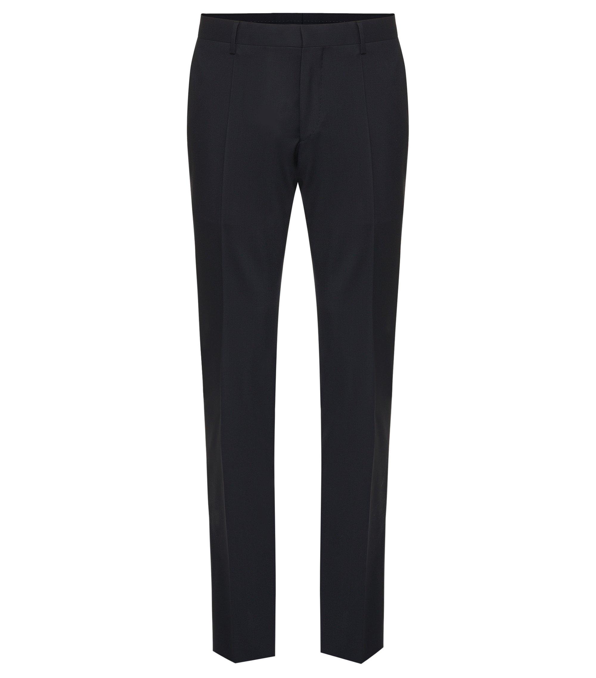 Effen slim-fit broek van zuivere scheerwol uit de Tailored-collectie: 'T-Glover1', Donkerblauw