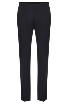 Pantalon Slim Fit Tailored uni en pure laine vierge : « T-Glover1 », Bleu foncé