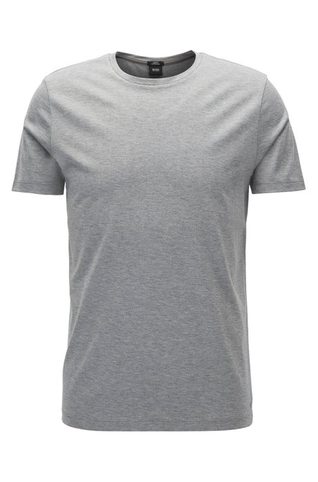 Slim-fit t-shirt in cotton blend with silk: 'Tessler 26', Grey
