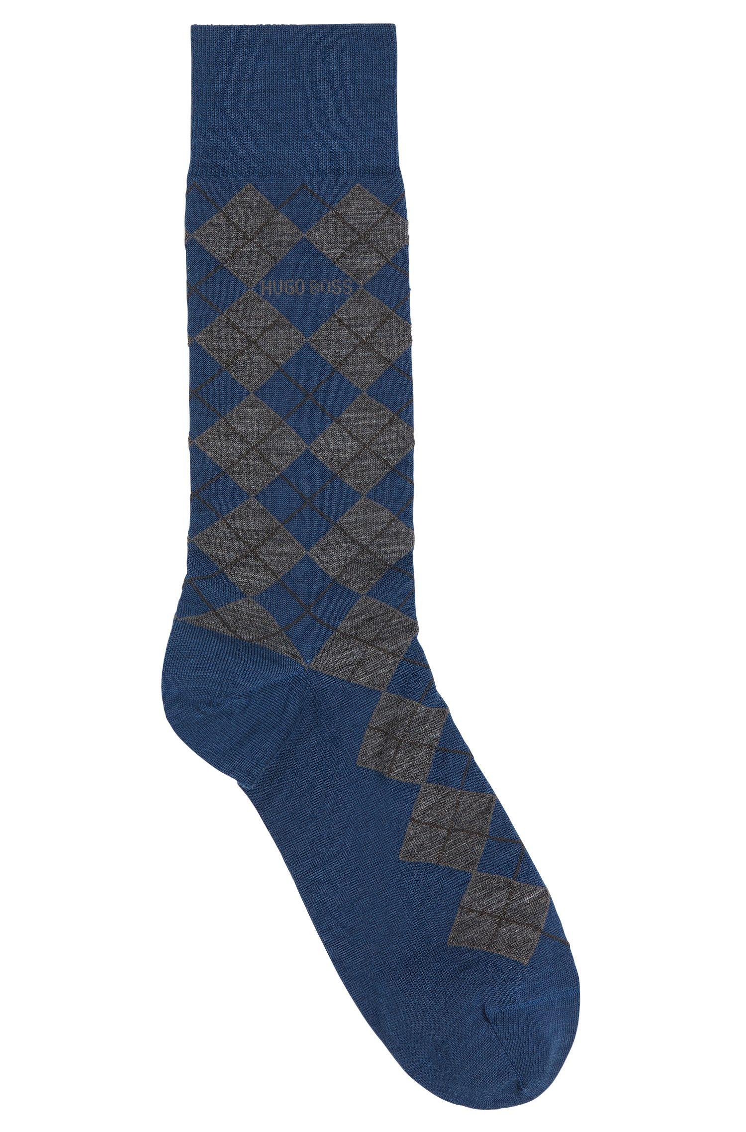 Chaussettes en laine mélangée, au motif à losanges: «John Design»
